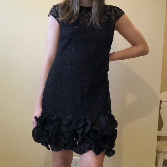 Black lace dress with ruffle trim